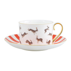 Fox and Rabbits Tea Cup and Saucer, Gold on Inside of Handle