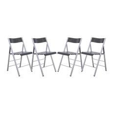 LeisureMod   LeisureMod Menno Modern Transparent Acrylic Folding Chair,  Black, Set Of 4