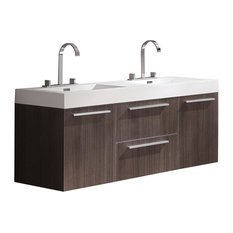 "Opulento 54"" Gray Oak Modern Double Sink Bathroom Cabinet With Integrated Sinks"