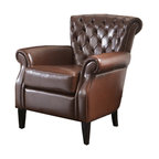 Tufted Leather Club Chair, Brown