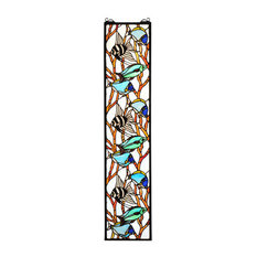 "Meyda Lighting 50840 9""W x 42""H Tropical Fish Stained Glass Window"