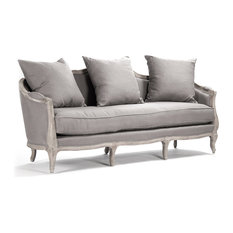 Zentique Rue Du Bac French Country Gray Linen Feather Sofa Sofas