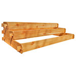 """Timberlane Gardens - Raised Bed Kit Large 3-Tier, 1x6, 2x6, 3x6, Western Red Cedar - Raised garden bed kit dimensions: 1 foot wide x 6 feet long (6 inches deep), 2 feet wide x 6 feet long (6 inches deep) and 3 feet wide x 6 feet long (6 inches deep). Deepest depth is 18 inches when stacked. 5/8"""" thick."""