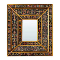 Handcrafted Black Painted Wall Mirror With Flowers, 34x39 cm