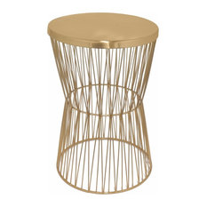 Benzara, Woodland Imprts, The Urban Port   Metal Accent Table, Copper   Side
