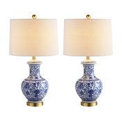 "Jennifer 25.25"" Ceramic Led Table Lamp, Blue and White, Set Of 2"