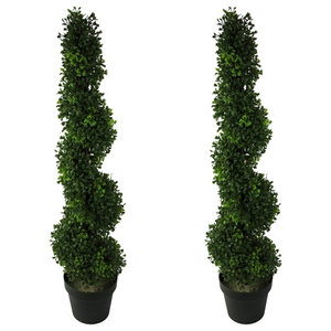 6 Feet Artificial Cypress Tower Cone Topiary Tree In Plastic Pot Green Set Of Contemporary Artificial Plants And Trees By Admired By Nature
