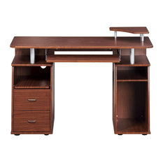 Complete Computer Workstation Desk With Storage, Mahogany