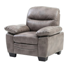 Rolando Faux Leather Chair, Gray