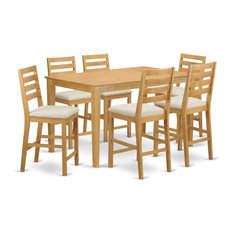 7-Piece Counter Height Set Pub Table And 6 Bar Stools With Backs