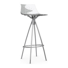 ICE Non-Swiveling Bar Stool Satin Frame And Transparent
