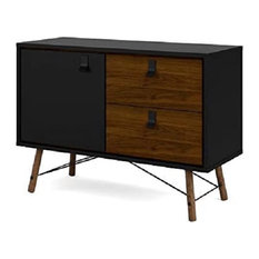 Contemporary Sideboard 2 Drawers And One Door Black Matte And Walnut