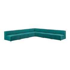 Modway Mingle 7 Piece Upholstered Fabric Sectional Sofa Set EEI-2841-TEA