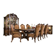 Michael Amini   9 Piece Windsor Court Rectangular Dining Table Set Vintage  Fruitwood   Dining