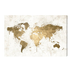 """White and Gold World Map"" Canvas Print, 60x40 cm"