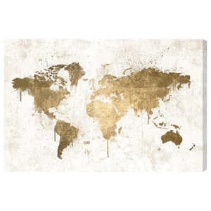 """""""White and Gold World Map"""" Canvas Print, 60x40 cm"""