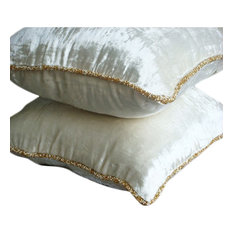 "White Solid Color 22""x22"" Velvet Pillows Covers for Couch, White Shimmer"