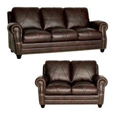 LUKE LEATHER FURNITURE   Genuine Italian Leather Sofa And Loveseat In  Chocolate Brown   Living Room