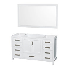 "Sheffield 60"" Vanity, 58"" Mirror, White, No Countertop, No Sink"