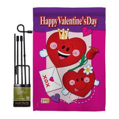 Happy Valentine's Day Spring Valentines Garden Flag Set