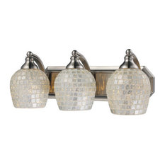 Bathroom Vanity 3-Light With Satin Nickel Silver Mosaic Glass 20""