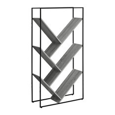 Monarch 5 Tier Metal Bookcase In Gray And Black