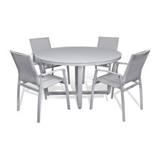 MangoHome - Outdoor Patio Furniture Aluminum Gray Frosted Glass Round Dining 5-Piece Set - Outdoor Dining Sets