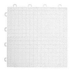 "12""x12"" Interlocking Deck/Patio Flooring Tiles, Perforated, Set of 30, White"