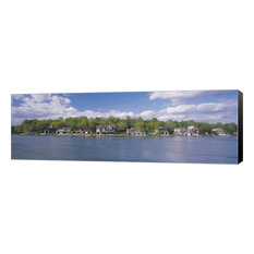 "Boathouses Near The River, Schuylkill River, Wrapped Canvas, Black Sides, 27""x9"""