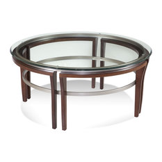 Bassett Mirror Fusion Round Cocktail Table In Cappuccino Finish