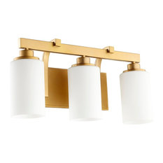 Quorum Lancaster 3-Light Vanity, Aged Brass