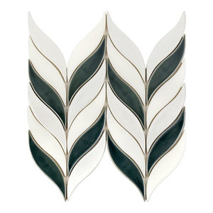 Oracle Sprig Mixed Material Mosaic Tile, White/Deep Emerald