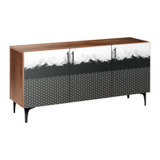 Starlight Abstraction Arc Sideboard Walnut/Black