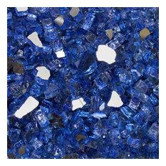 "1/2"" Reflective Tempered Fire Glass, Neptune Blue, 10 lb. Jar"