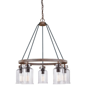 Milone 5 Light Bronze Rustic Wheel Chandelier Clear Glass Industrial Chandeliers By Hedgeapple Houzz
