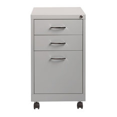"""Space Solutions 19"""" 3-Drawer Home Office Mobile Pedestal File Platinum"""