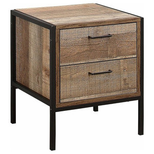 Rustic Drawer Bedside, Solid Wood and Steel Frame With 2-Drawer for Storage