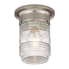 "Hardware House Outdoor Jelly Jar Ceiling Fixture, Satin Nickel, 4.75""x6"""
