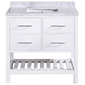 "30"" Belvedere Traditional Freestanding White Bathroom Vanity With Marble Top"