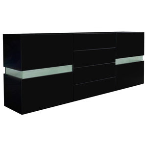 Sideboard Chest of Drawers, Black MDF, 2-Door and 4-Drawer, Without LED Lights