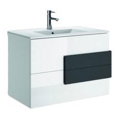 Modern Bathroom Vanity Model 7500 White and Matte Gray Handles