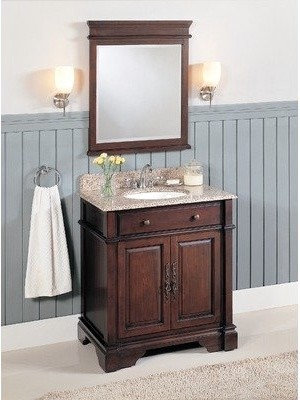 Lanza Single Sink Bathroom Vanity With Granite Countertop And Hutch