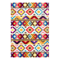 Contemporary Geometric Southwestern Bohemian Area Rug, Multicolour, 125x183cm