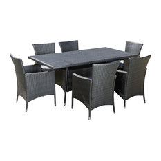 GDFStudio   Macalla 7 Piece Outdoor Dining Set, Gray   Outdoor Dining Sets