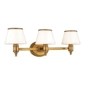 Richmond 3-Light Bath and Vanity With Glass Shade, Flemish Brass