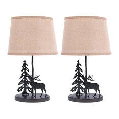 Metal Burlap Shade Moose Lamp, Set of 2