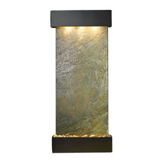Inspiration Falls Wall Fountain, Blackened Copper, Green Featherstone, Square Fr