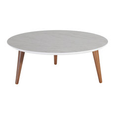 Round Coffee Table in Gray Marble Gloss Finish