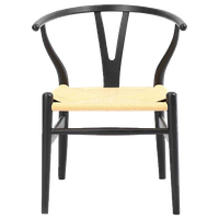 Wishbone Y Chair, Black/Natural Cord