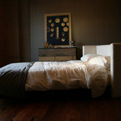 White Fabric Platform Bed With Vintage Nails by Robrray